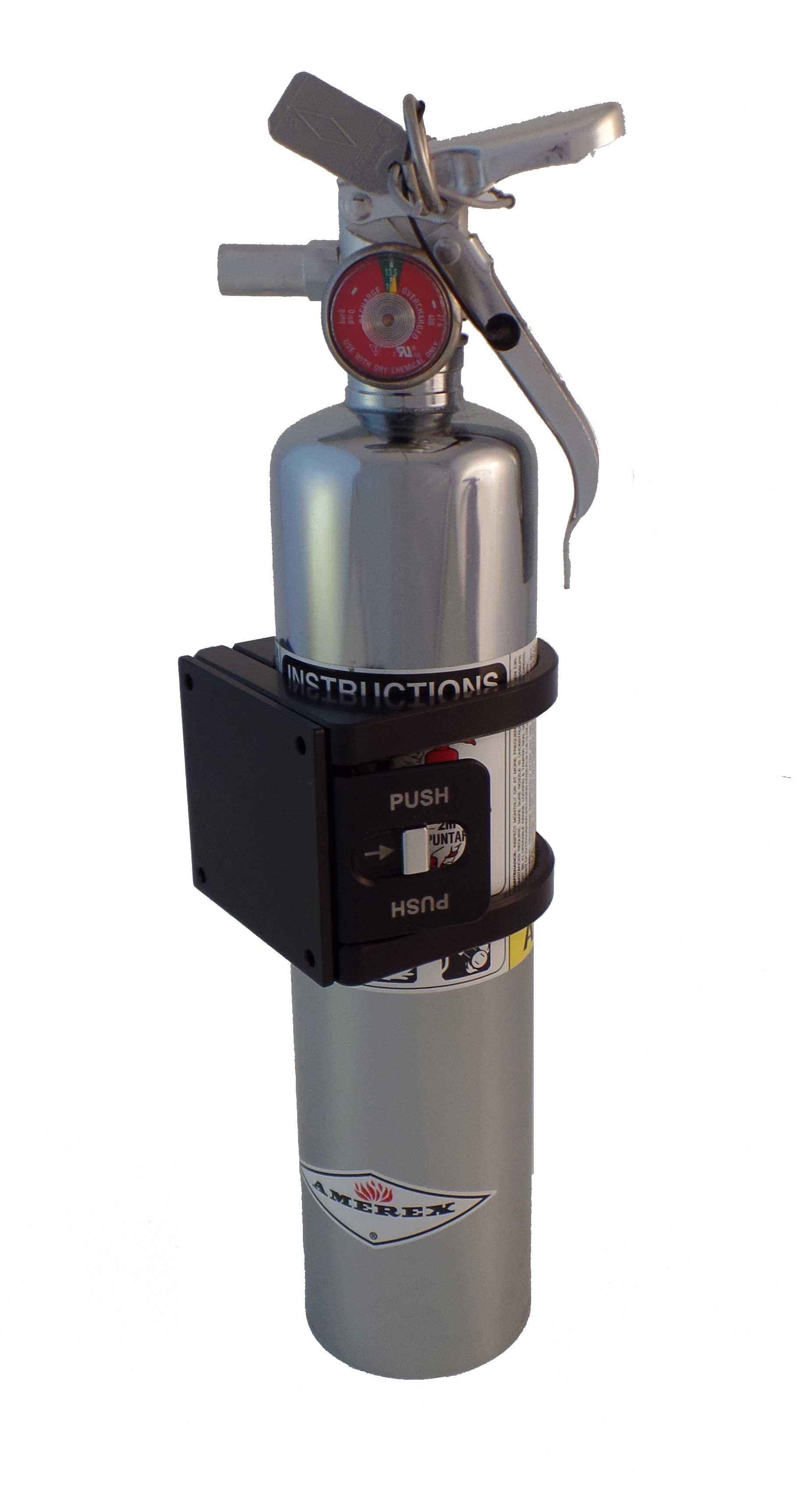 Black Anodized Tek208 Quick Release Fire Extinguisher Mount w//Flat Base